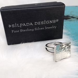 Silpada Square Hammered 925 Modern Ring R1688 SZ 7